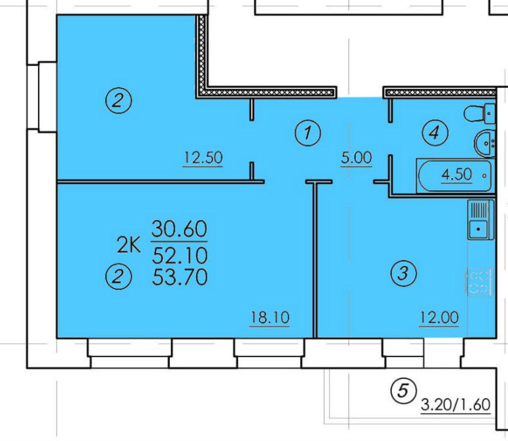 Двухкомнатные квартиры: Двухкомнатная квартира (№46) в РСУ-15  Специализированный застройщик ООО