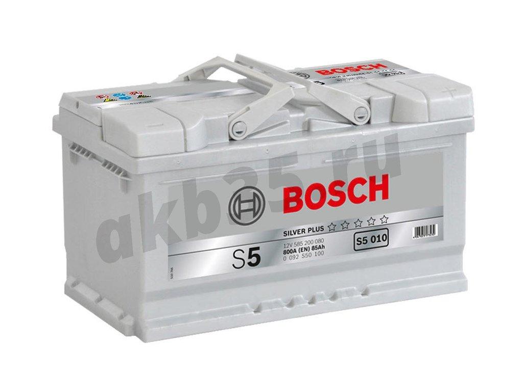 Аккумуляторы: BOSCH 85 А/ч Обратный Низкий S5 010 SILVER PLUS (585 200 080) в Планета АКБ