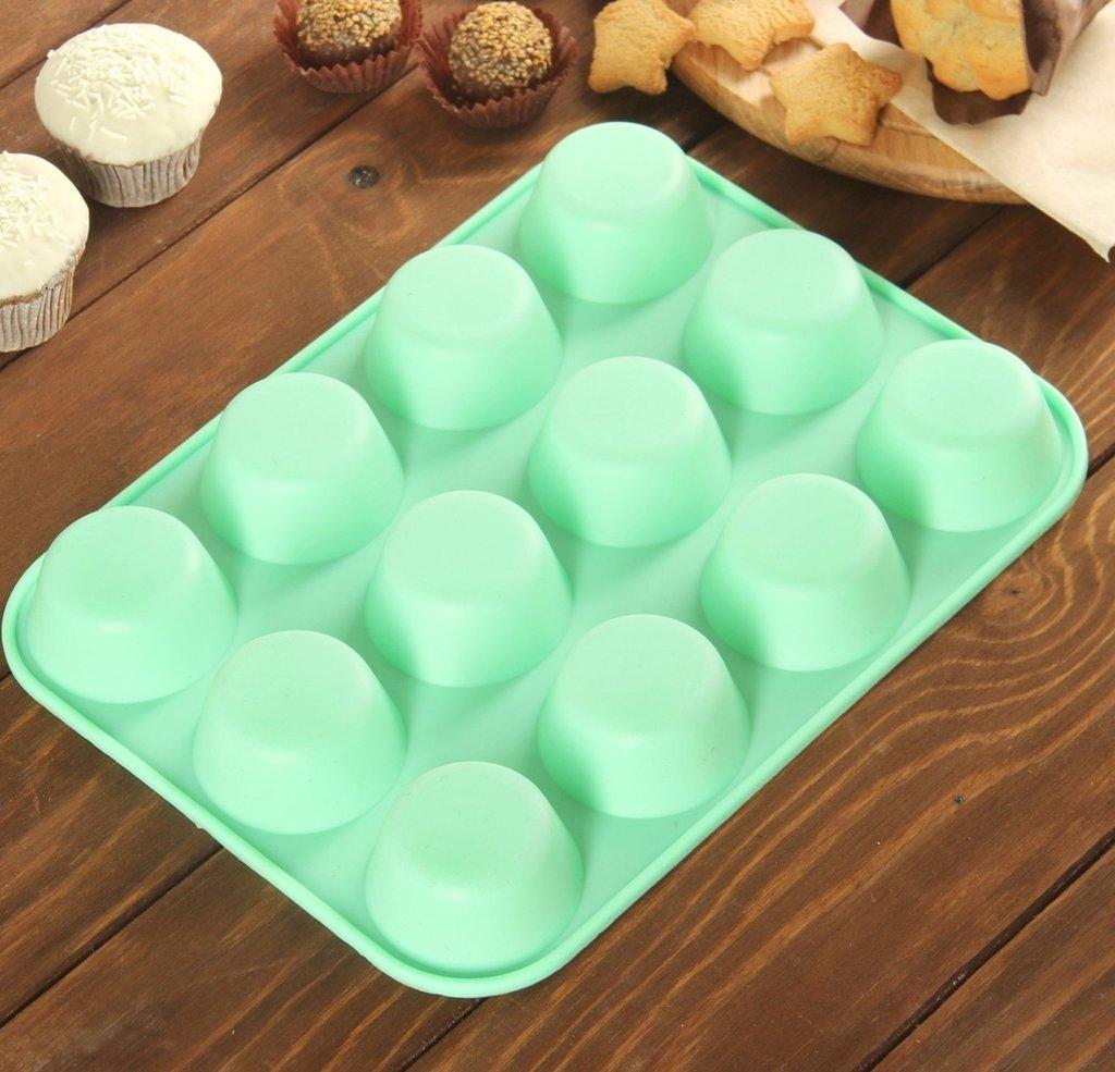 """Формы для выпечки кексов: Форма для выпечки """"Круг"""", 12 ячеек, цвета МИКС в ТортExpress"""