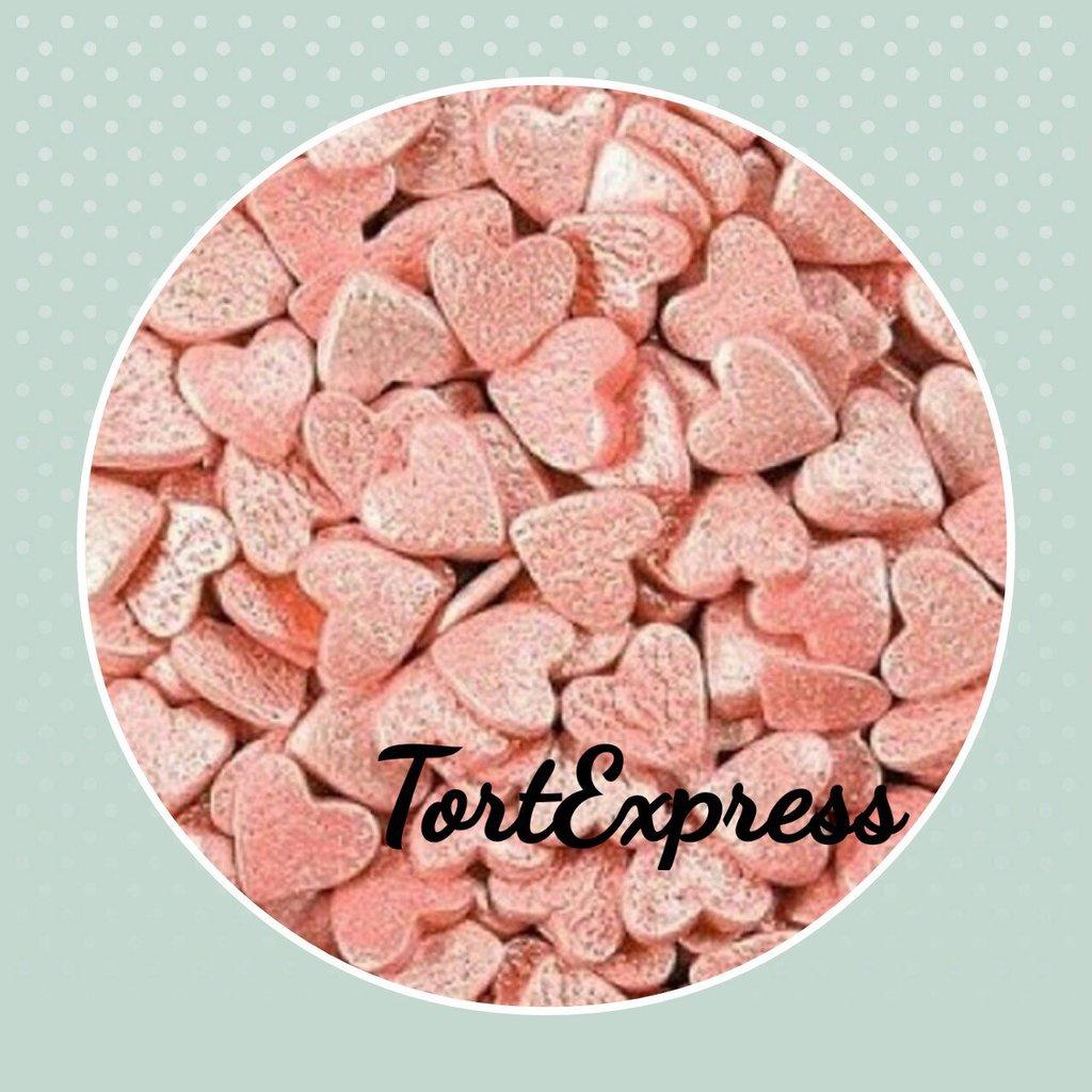"""Украшения, декор: Посыпка сахарная """"Сердечки розовые перламутровые """" 75г в ТортExpress"""
