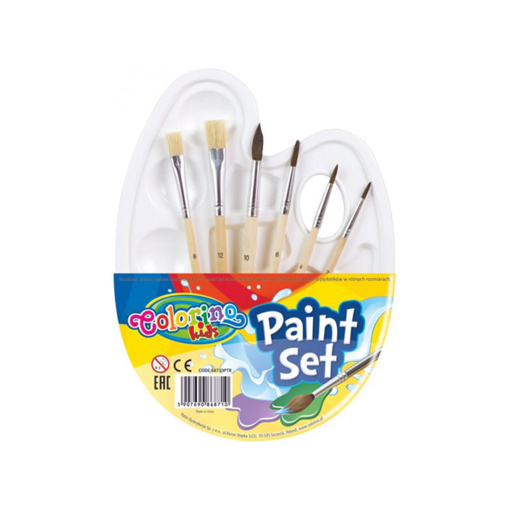 Палитры: Набор кистей 6шт + пластиковая палитра в Шедевр, художественный салон