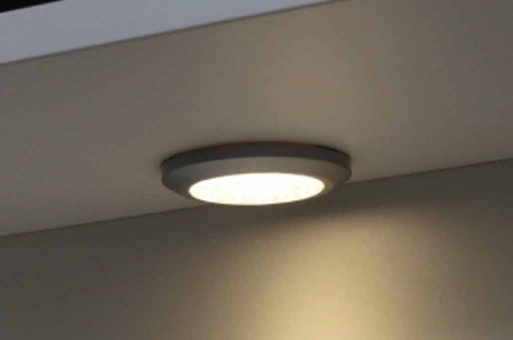 """Мебельная фурнитура """"НОВИНКИ"""": Комплект из 3-х светильников LED Сompact, 3000K, отделка под алюминий в МебельСтрой"""