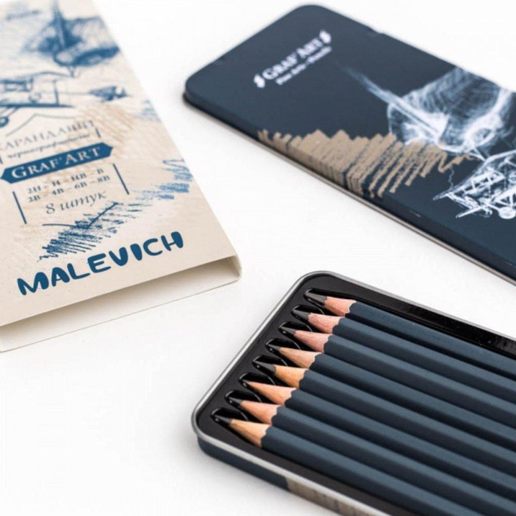 Чернографитные карандаши: Набор чернографитных карандашей Graf'Art, 8 шт в металлической коробке в Шедевр, художественный салон