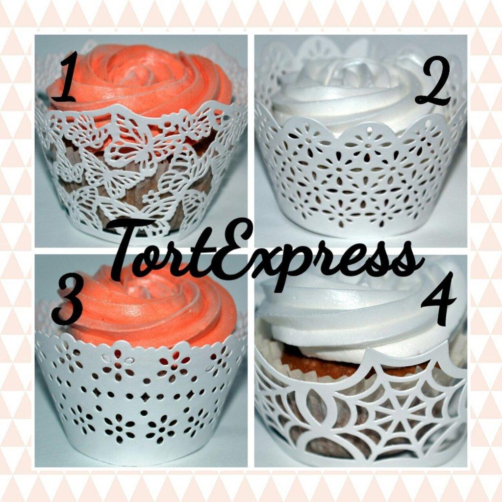 Упаковка: Ажурные бумажные формы для украшения капкейков  4 вида в ТортExpress