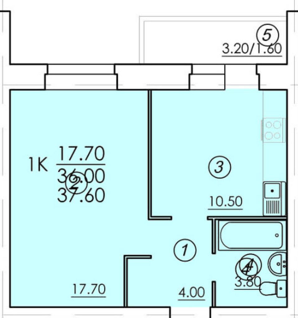 Однокомнатные квартиры: Однокомнатная квартира (№68) в РСУ-15  Специализированный застройщик ООО