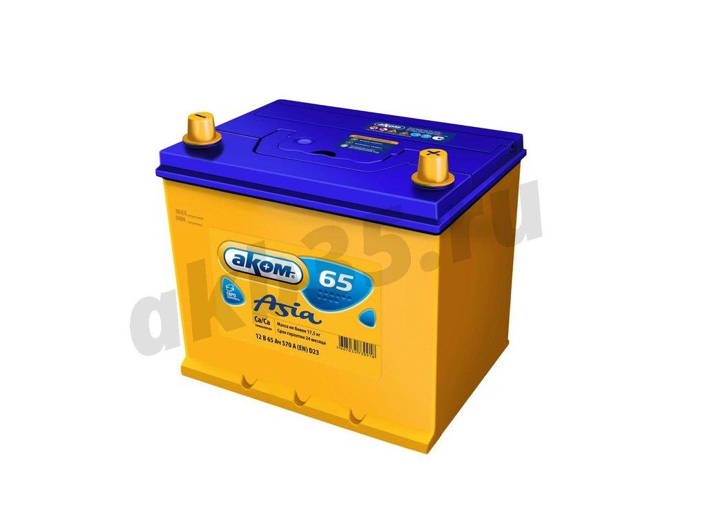 Аккумуляторы: АКОМ 65 А/ч Обратный Азия 65D23L в Планета АКБ
