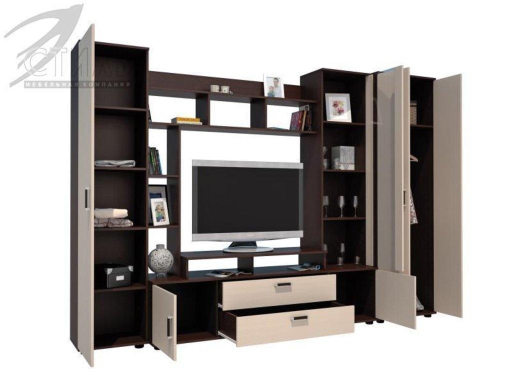 Мебель для гостиной Стиль - 7(А) + шкаф ЛДСП: Гостиная Стиль-7 (А) ЛДСП (дуб молочный, венге) в Диван Плюс