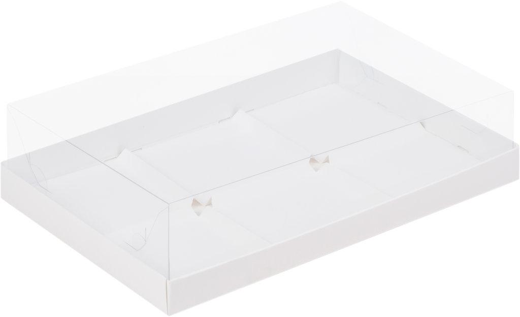 Упаковка: Коробка под муссовые пирожные с пластиковой крышкой 260х170х60 БЕЛАЯ в ТортExpress