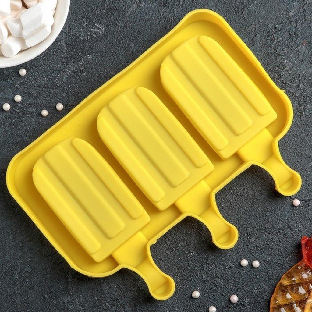 """Формы для мороженого: Форма для леденцов и мороженого """"Эскимо макси"""", 3 ячейки, цвет МИКС в ТортExpress"""