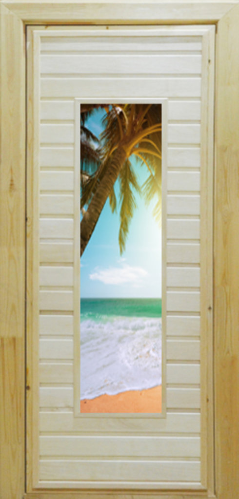 Двери для бани и сауны: Деревянные двери для бани с полноцветным рисунком на стекле в Сельский магазин