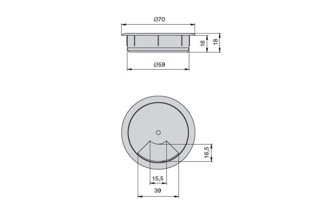 """Мебельная фурнитура """"НОВИНКИ"""": Заглушка кабель-канал, d.60, отделка белый в МебельСтрой"""
