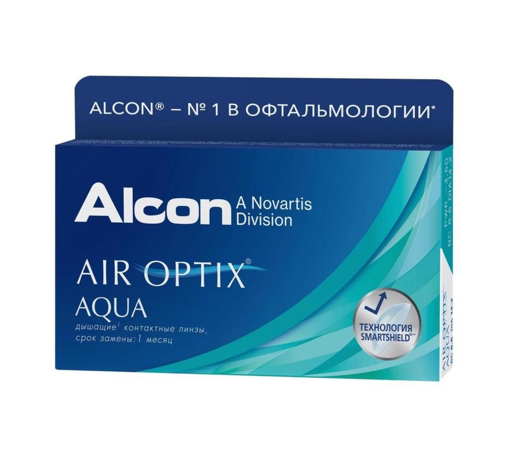Контактные линзы: Контактные линзы AIR OPTIX AQUA (6шт / 8.6) ALCON в Лорнет