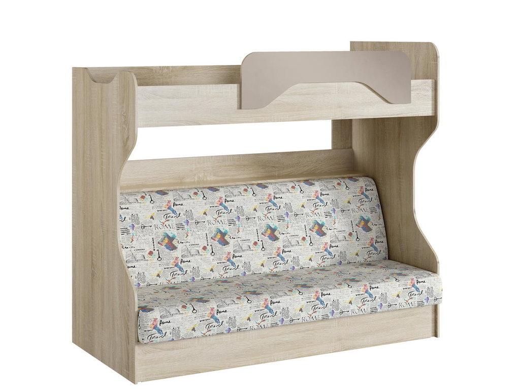 Детские и подростковые кровати: Кровать 2-х ярусная с диваном НМ 037.43 Акварель (800х1900, усилен. настил) в Стильная мебель