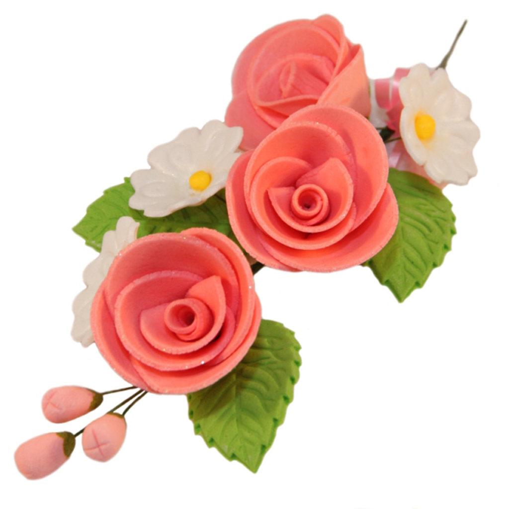 Сахарные украшения: Букет Розовые розы в ТортExpress