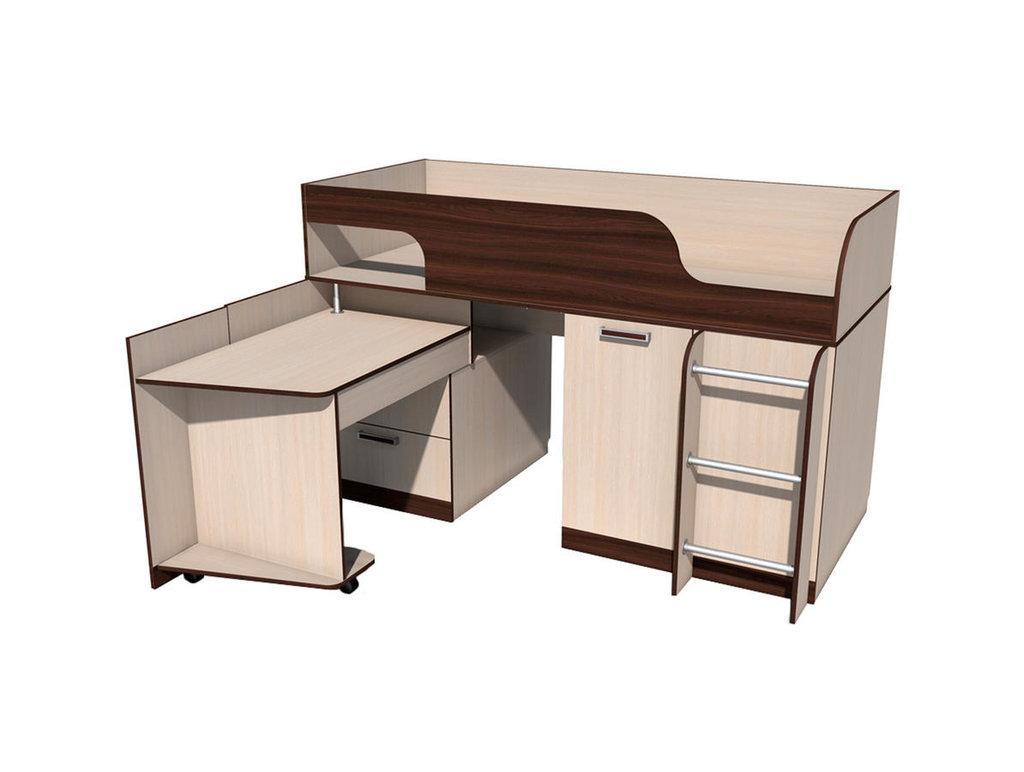 Детские и подростковые кровати: Кровать с поворотным столом НМ 011.55 Рико (800x1900, усилен. настил) в Стильная мебель