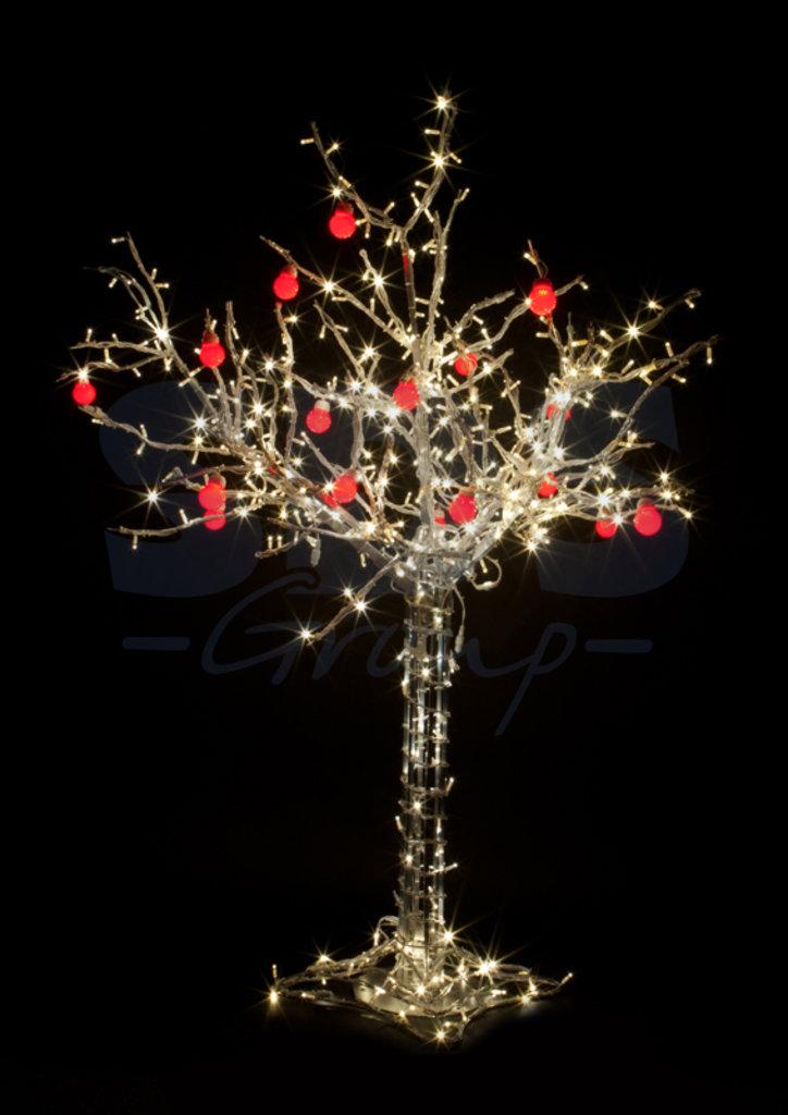 """Светодиодные деревья: Дерево """"Яблоня"""", h= 1.5м, 10 красных яблок, тепло-белые, IP 54, 24В, трансф. 531-402 Neon Night в СВЕТОВОД"""