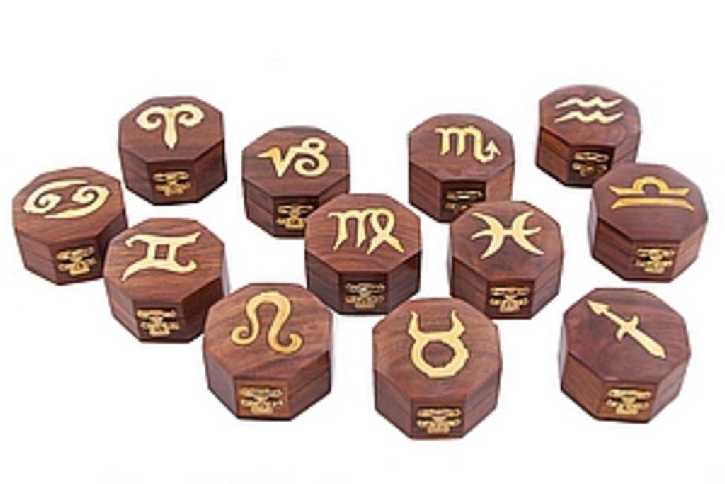Шкатулки: Шкатулка. Знаки зодиака (в ассортименте) в Шамбала, индийская лавка
