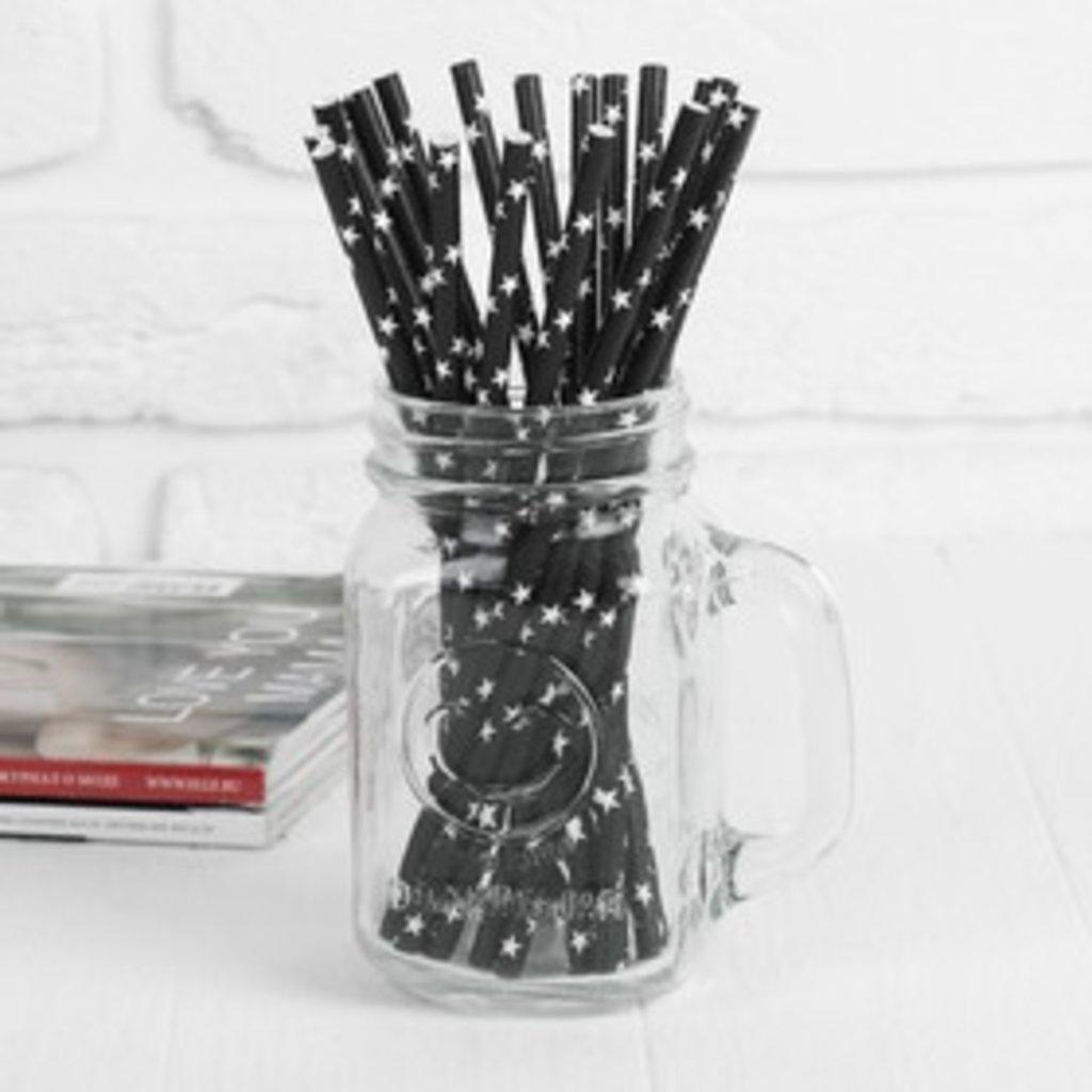 Упаковка: Трубочки для коктейля Звезды черная (набор 20шт) в ТортExpress