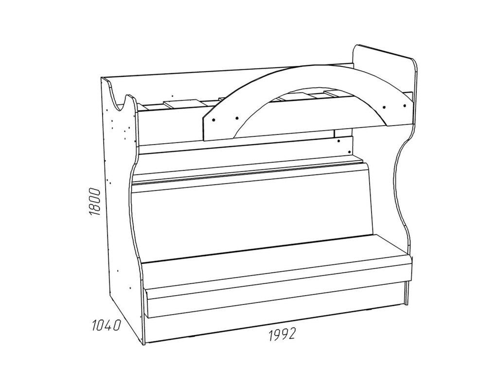 Детские и подростковые кровати: Кровать 2-х ярусная с диваном НМ 037.43 М Рико-М (900x1950, усилен. настил) в Стильная мебель