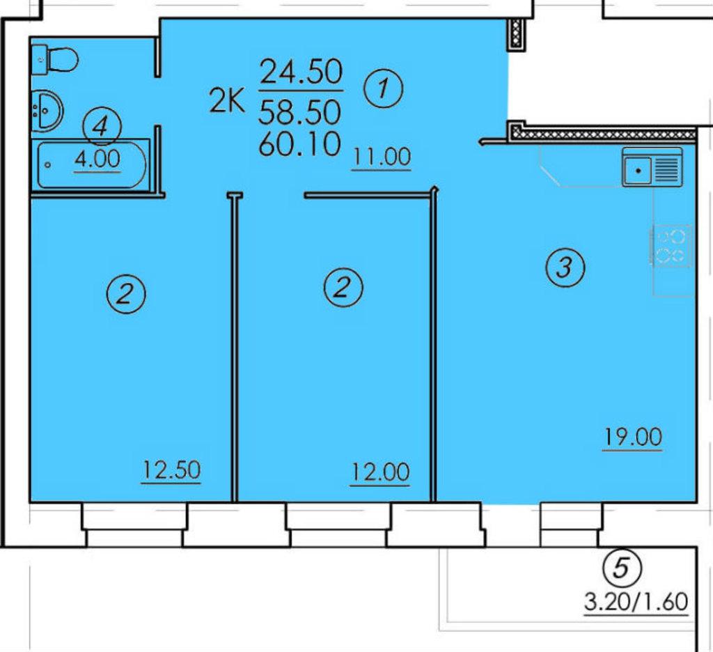 Двухкомнатные квартиры: Двухкомнатная квартира (№51) в РСУ-15  Специализированный застройщик ООО