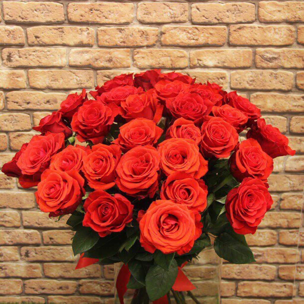 Цветы: Розы Ярко оранжевые в Николь, магазины цветов