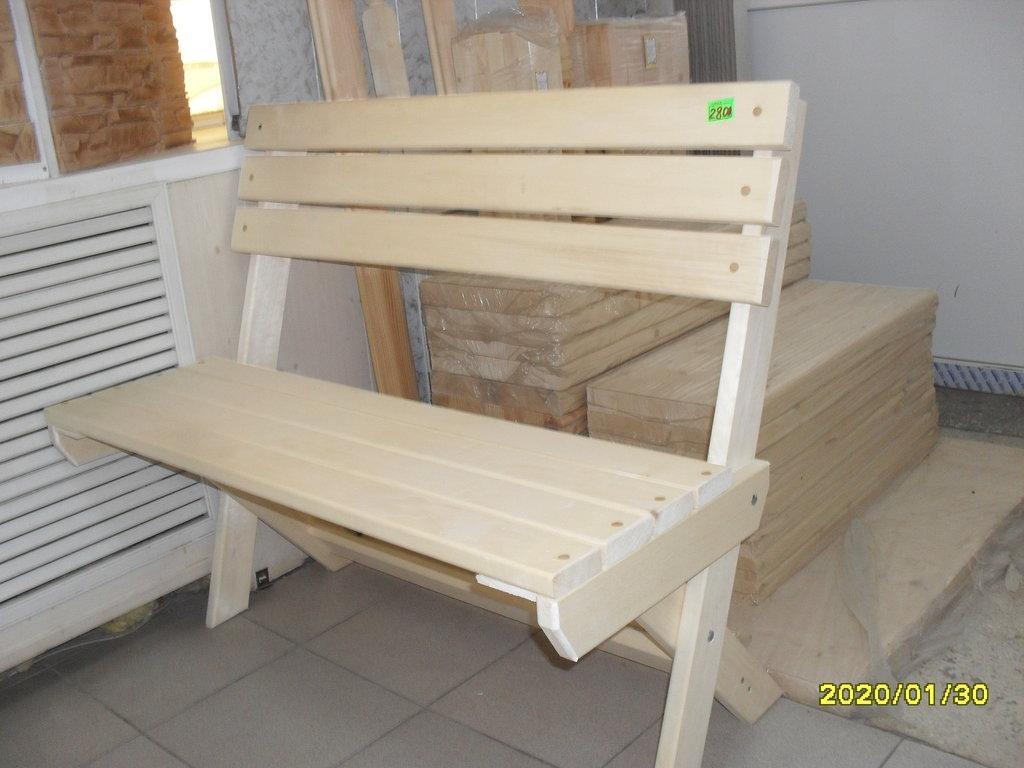 Мебель для саун и бань: Лавка раскладная со спинкой (липа) длина 100 см в Погонаж