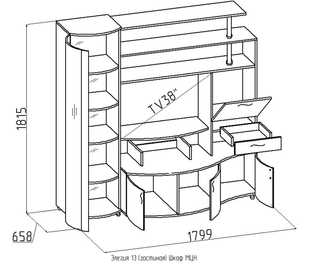 Шкафы, общие: Шкаф МЦН Элегия 13 в Стильная мебель
