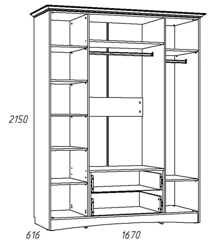 Детские шкафы и стеллажи: Шкаф комбинированный НМ 009.25 ЛР Прованс в Стильная мебель