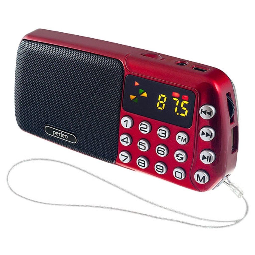 Радиоприёмники: Perfeo мини-аудио СИНИЦА FM, MP3 USB/TF, часы, Repeat, цифровые кнопки, USB/1200mAh, красный (i70-RED) в A-Центр Пульты ДУ