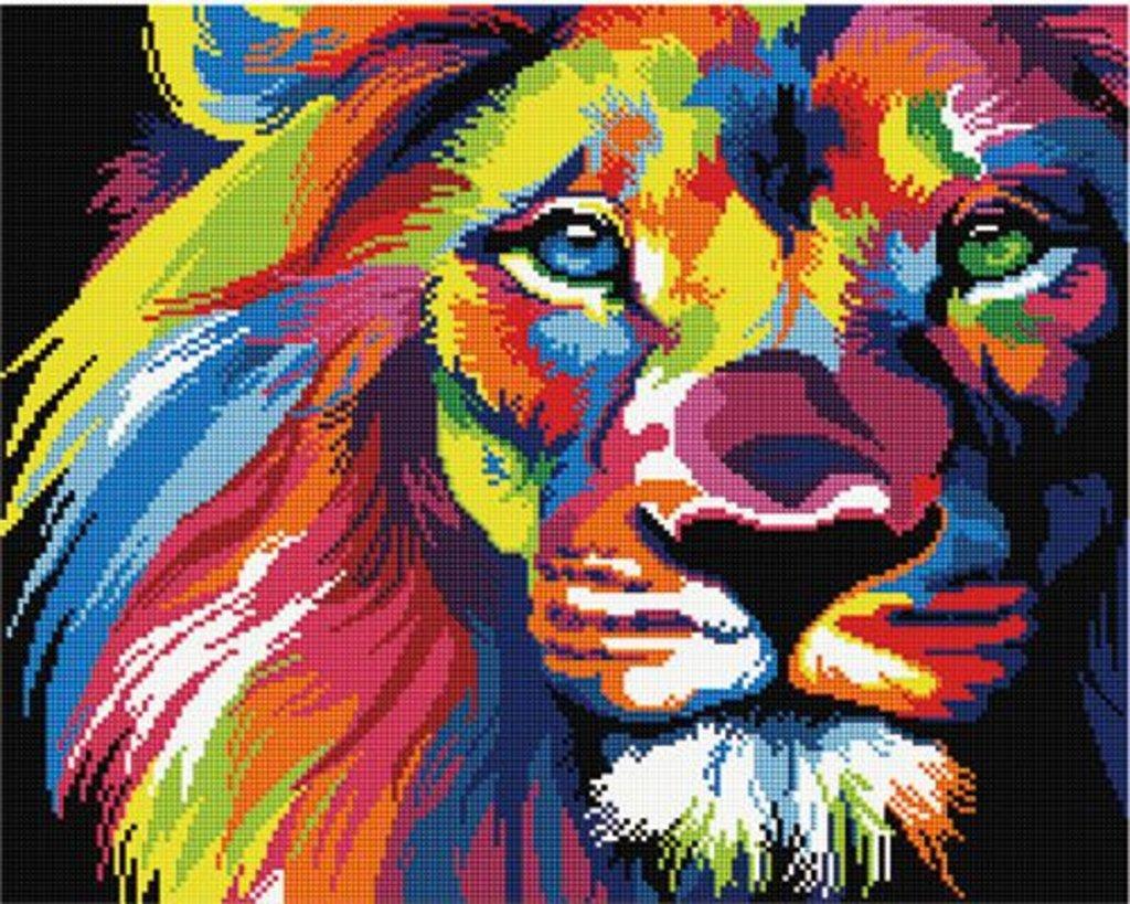 Наборы картин со стразами: Алмазная мозаика Радужный лев, 40х50, квадратные стразы GF928 в Шедевр, художественный салон