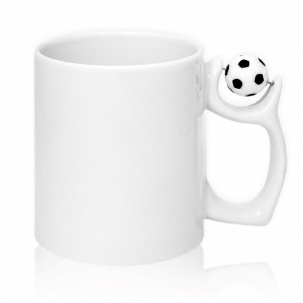 Белые кружки-заготовки: Кружка белая, ручка в форме мяча в NeoPlastic