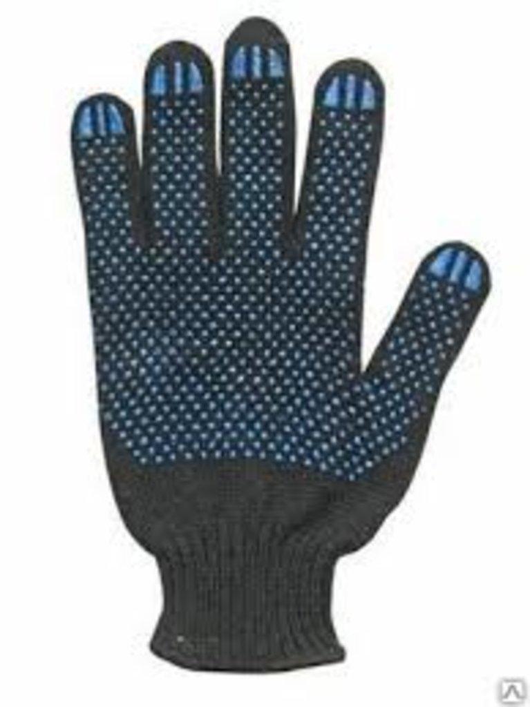 Перчатки трикотажныес ПВХ 4 нитка черные 10 кл. в АНЧАР,  строительные материалы