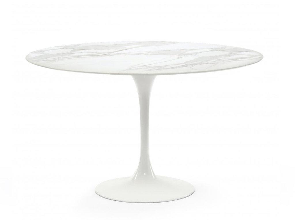 Столы обеденные: Стол обеденный Априори T круглый 100 см 13т мрамор белый в Актуальный дизайн