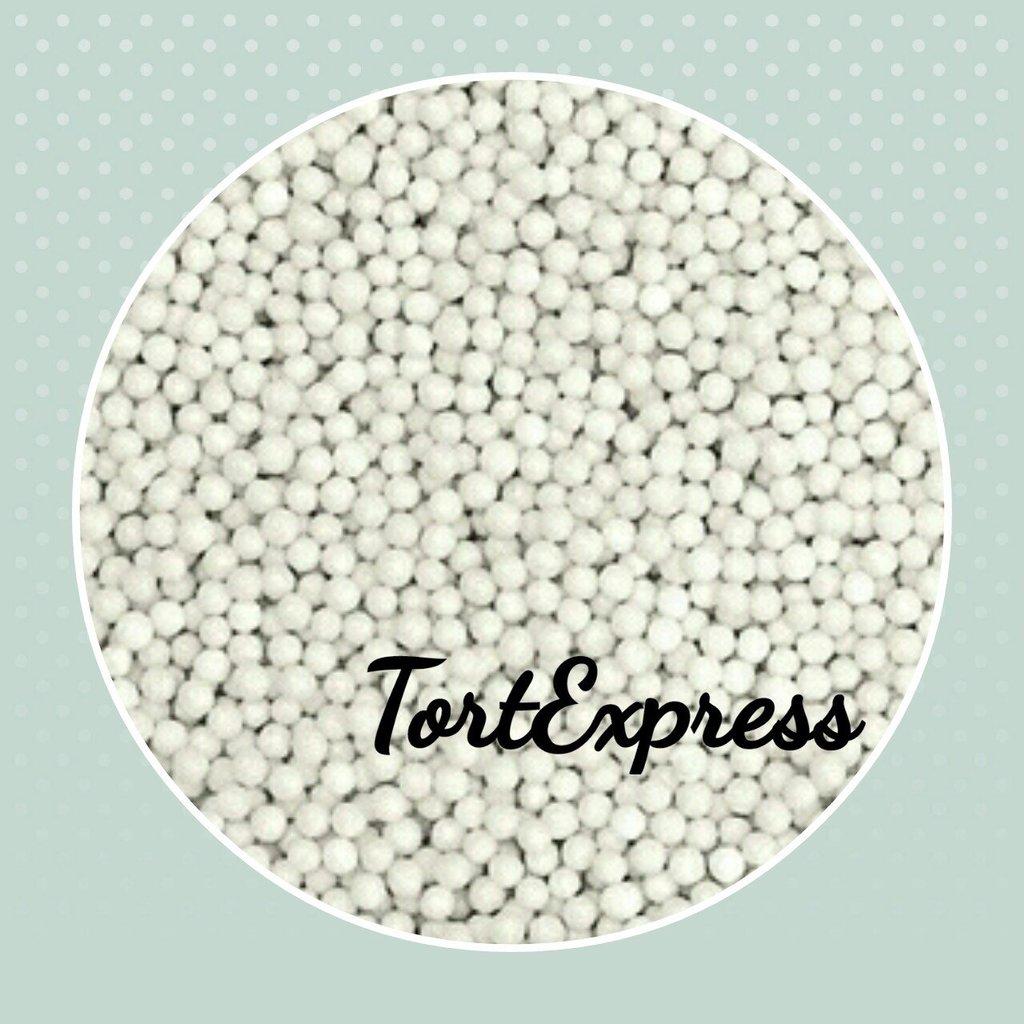 Посыпки декоративные: Шарики белые 2 мм в ТортExpress