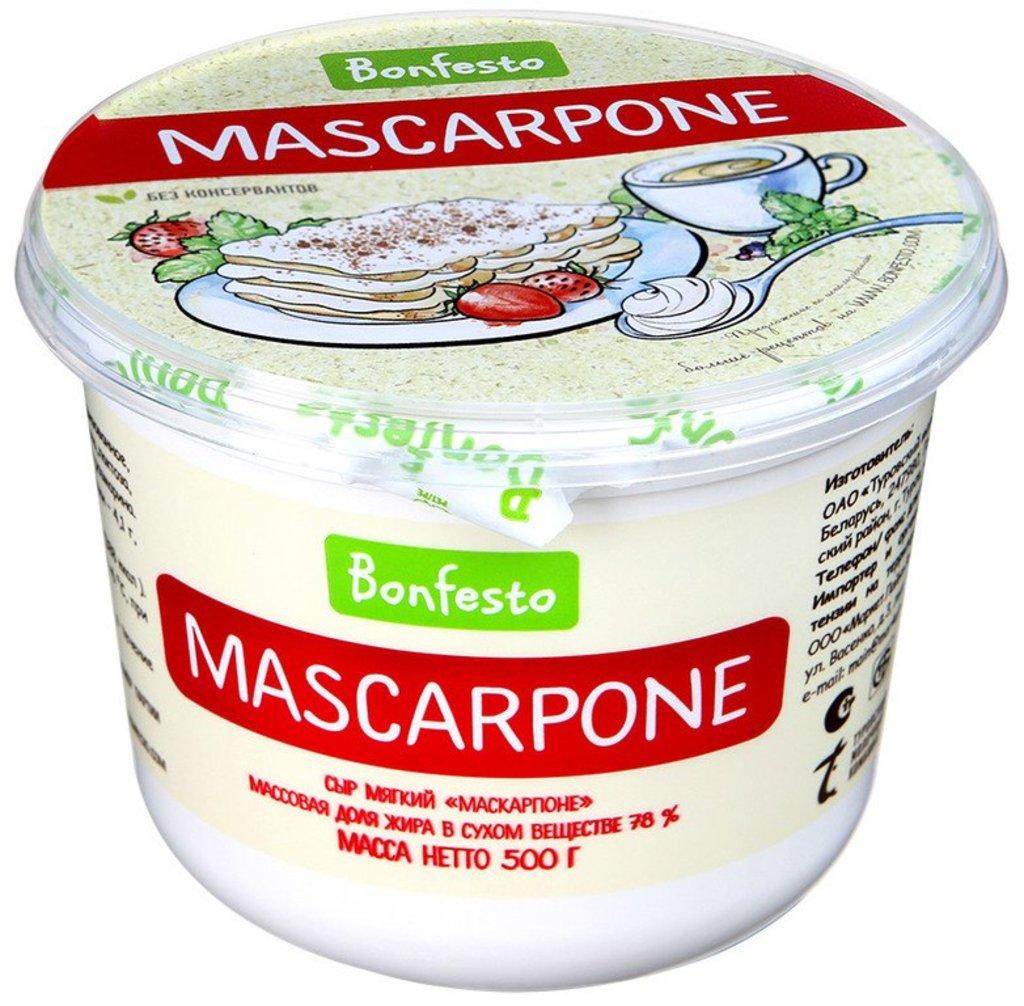 Сыр: Сыр маскарпоне Bonfesto 500г, ж.78% в ТортExpress