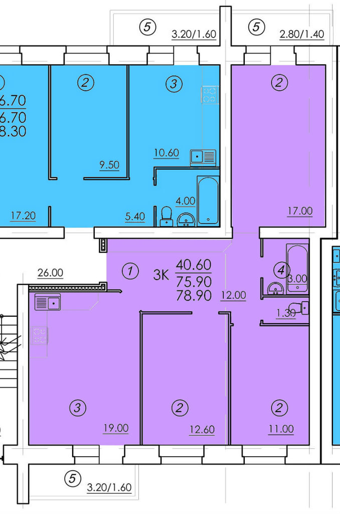 Трехкомнатные квартиры: Трехкомнатная квартира (№30) в РСУ-15  Специализированный застройщик ООО
