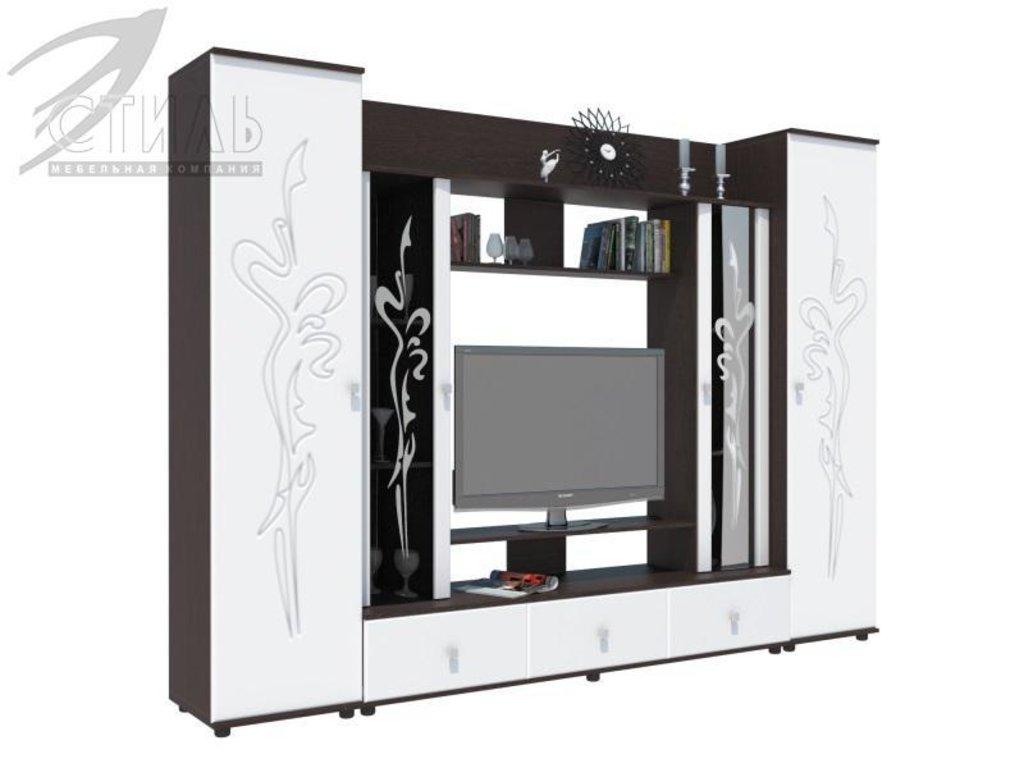 Гостиные: Мебель для гостиной Флоренция - 4 (венге / белый глянец) в Диван Плюс