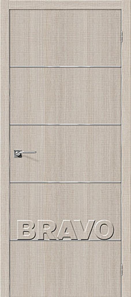 Двери экошпон BRAVO: Порта-50А-6 Cappuccino Crosscut в STEKLOMASTER