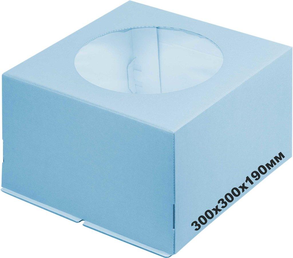 Коробки для тортов: Коробка 300х300х190мм с окном Голубая в ТортExpress