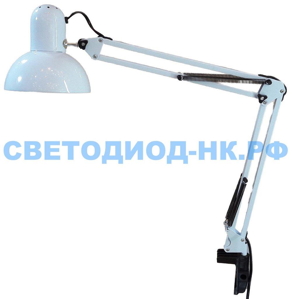 Настольные лампы, ночники: Лампа настольная Уютель UT-800В Е27 60W, белая, на струбцине, шнур 1,5м, 220V в СВЕТОВОД