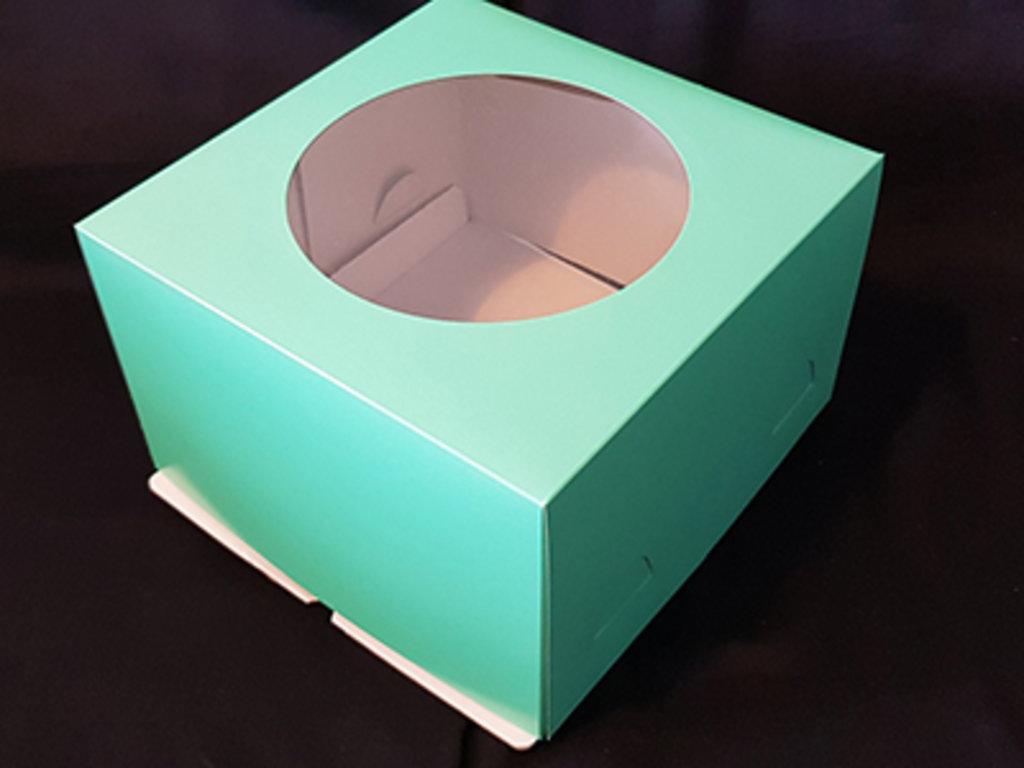 Коробки для тортов: Коробка 300х300х190мм с окном Салатовая в ТортExpress
