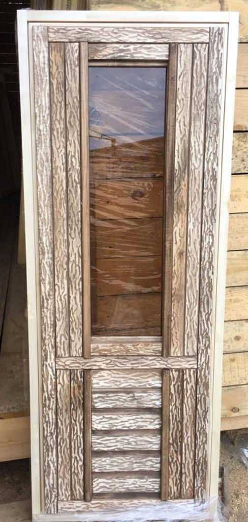 Двери для саун и бань: ДВЕРЬ БАННАЯ ЛИПА   (ДГC СОСТАРЕННАЯ) сорт экстра в Погонаж