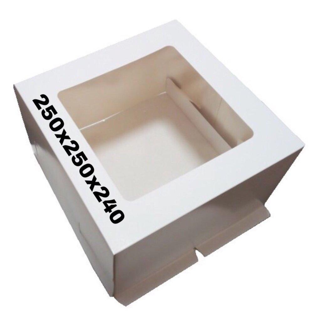 Упаковка: Коробка под торт 250х250х240 с окном в ТортExpress