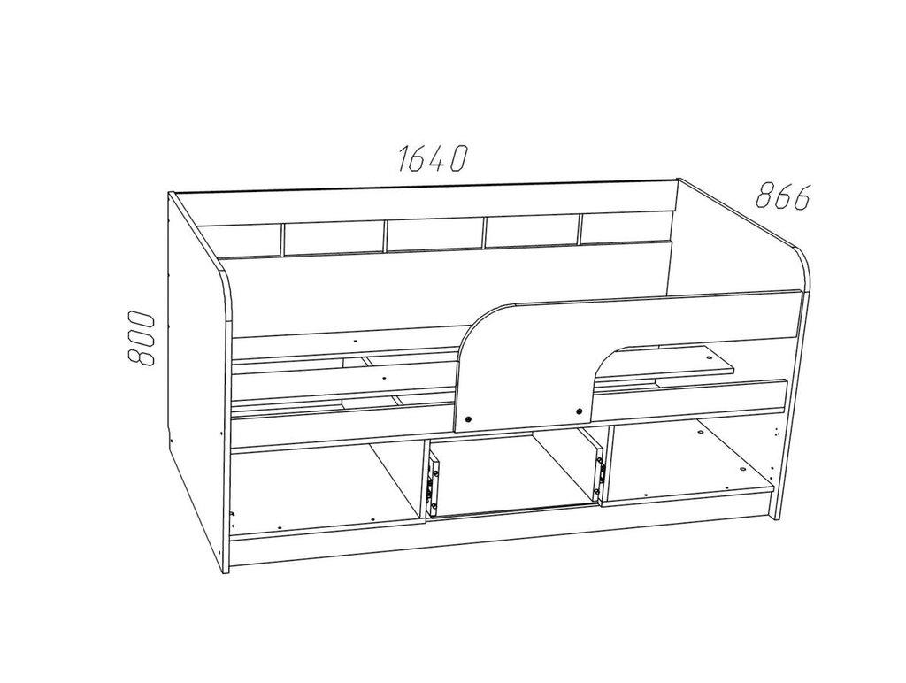 Детские и подростковые кровати: Кровать НМ 039.03 Прованс (800x1600, усилен. настил) в Стильная мебель