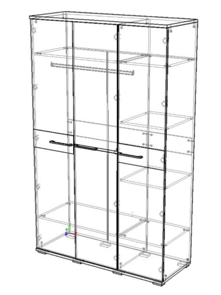 Мебель для спальни Луиза (венге / белый металлик): Шкаф трехстворчатый Луиза (венге / белый металлик) в Диван Плюс