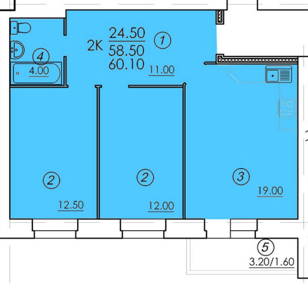Двухкомнатные квартиры: Двухкомнатная квартира (№61) в РСУ-15  Специализированный застройщик ООО