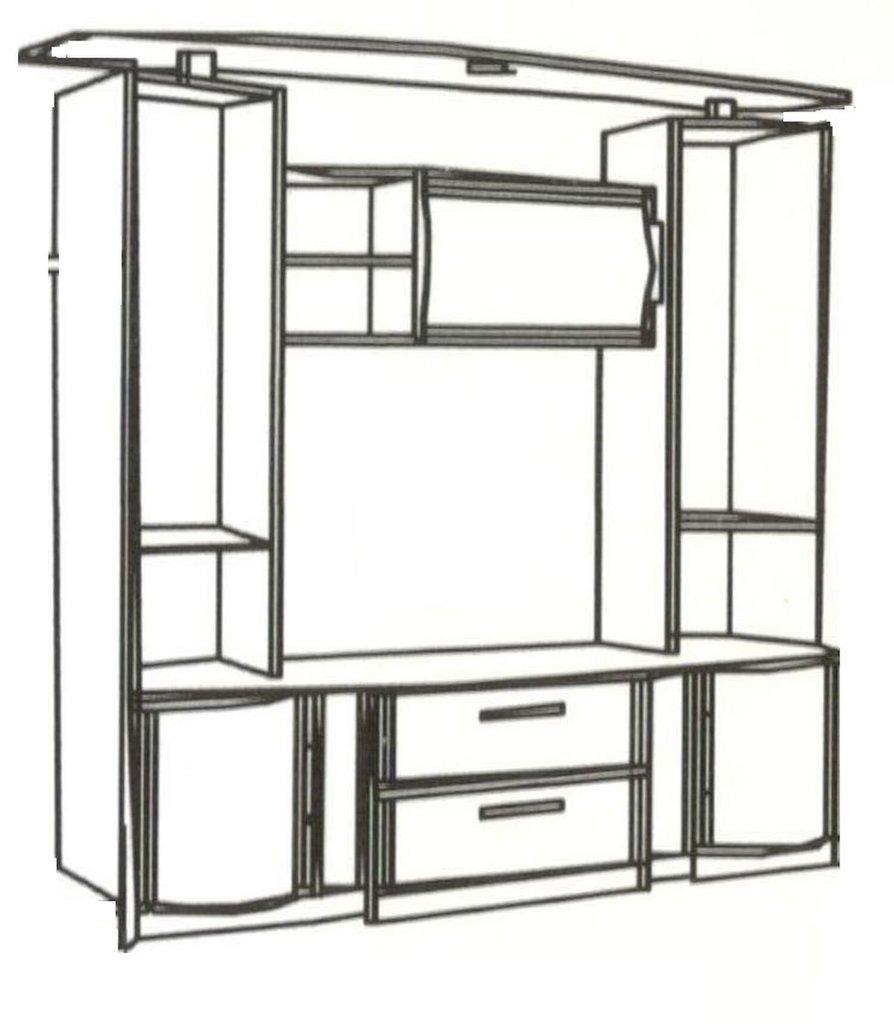 Шкафы, общие: Шкаф МЦН (проем под TV 1142 мм) Кристина 3 в Стильная мебель