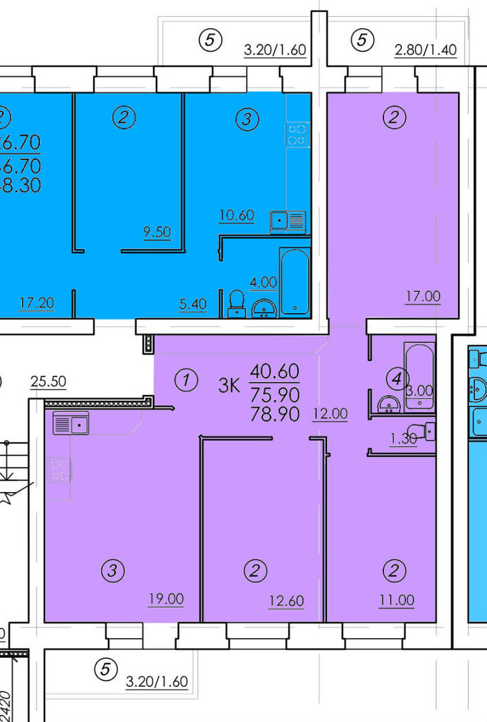 Трехкомнатные квартиры: Трехкомнатная квартира (№5) в РСУ-15  Специализированный застройщик ООО