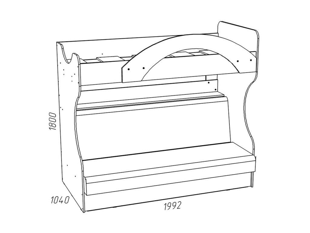 Детские и подростковые кровати: Кровать 2-х ярусная с диваном НМ 037.43 Рико (900x1950, усилен. настил) в Стильная мебель