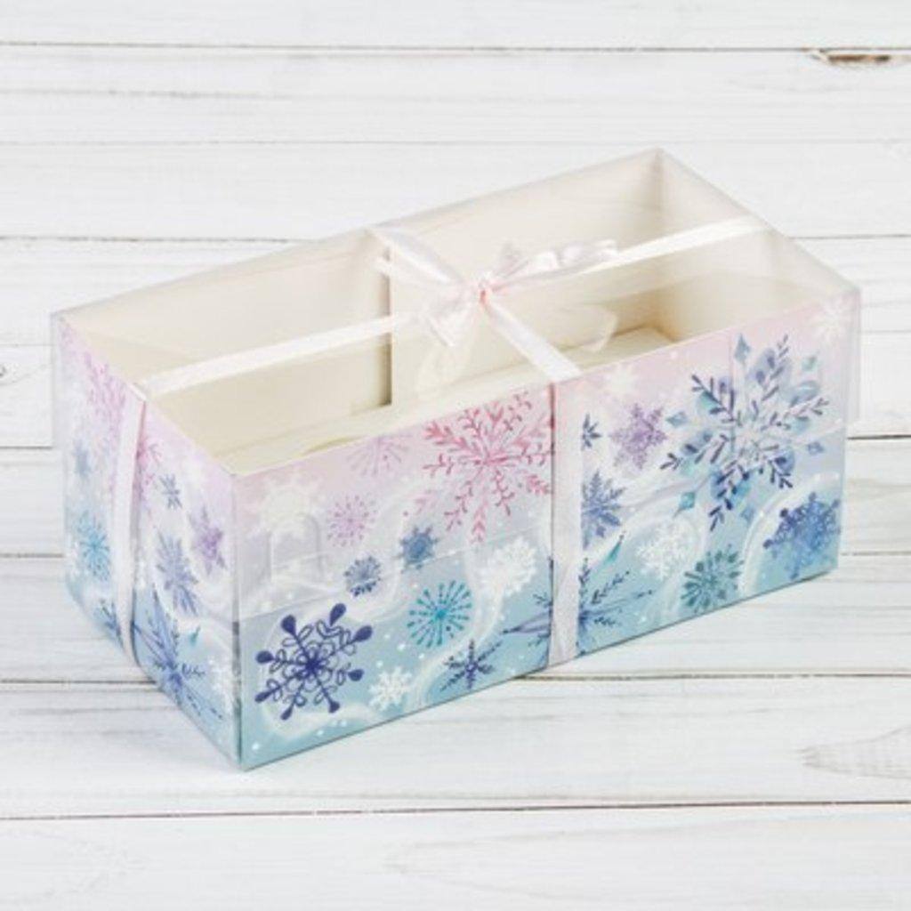 """Упаковка: Коробка для 2 капкейков """"Нежные снежинки"""" в ТортExpress"""
